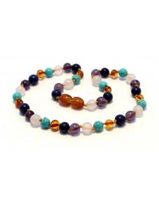 Baltic amber & lapis lazuli & amethyst & rose quartz & turquoise Baby teething necklace BTA16