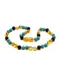 Baltic amber & lapis lazuli & turquoise Baby teething necklace BTA17