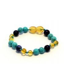 Baltic amber & lapis lazuli & turquoise Baby teething bracelet BTB65