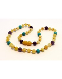 Baltic amber & amethyst & turquoise Baby teething necklace BTA18