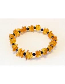 Baltic amber & lapis lazuli adult bracelet BM57