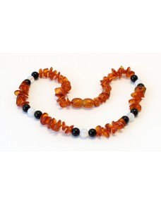Baltic amber & gemstone Baby teething necklace CBT20