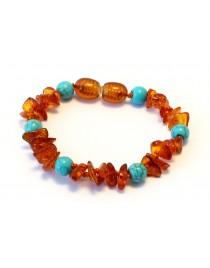 Baltic amber & gemstone Baby teething bracelet BTB69