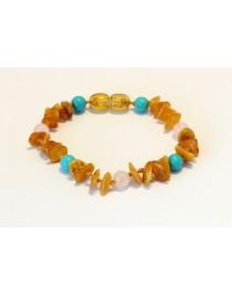 Baltic amber & gemstone Baby teething bracelet BTB71
