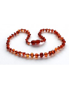 Cognac Baroque Baby teething Baltic amber necklace BT4
