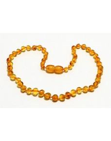 Honey Baroque Baby teething Baltic amber necklace BT7
