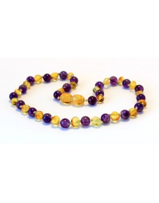 Baltic amber & amethyst Baby teething necklace BTA4