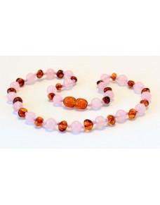 Baltic amber & rose quartz Baby teething necklace BTA6