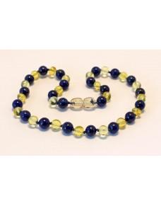 Baltic amber & lapis lazuli Baby teething necklace BTA8