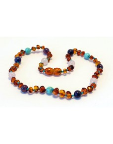 Baltic amber & amethyst & turquoise & rose quartz Baby teething necklace BTA9