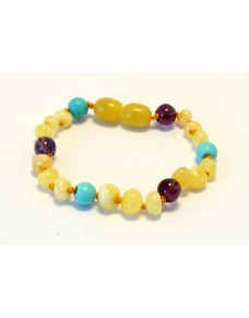 Baltic amber & amethyst & tuquoise Baby teething bracelet BTB57