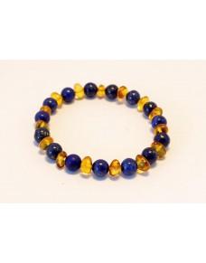 Baltic amber & lapis lazuli adult bracelet BM51