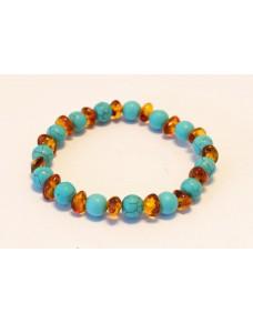Baltic amber & turquoise adult bracelet BM52