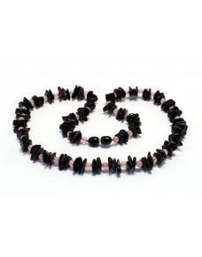 Amber & rose quartz Adult necklace BAQ56