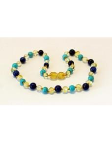Baltic amber & turquoise & lapis lazuli Baby teething necklace BTA14