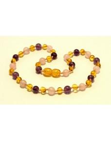 Baltic amber & amethyst & rose quartz Baby teething necklace BTA15