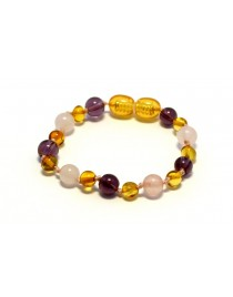 Baltic amber & amethyst & rose quartz Baby teething bracelet BTB63